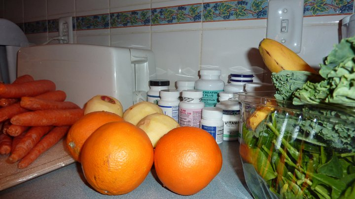 A day's worth of food when I was juicing a lot.